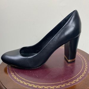 ISOLA Black Pumps with Gold Heel Accent